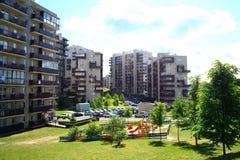 Sommar i huvudstad av det Litauen Vilnius stadsPasilaiciai området Arkivfoton