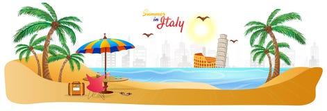 Sommar i Italien rengöringsduktitelrad eller baner med stilfulla textlopplodisar royaltyfri illustrationer
