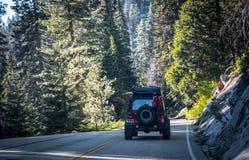 Sommar i sequoianationalparken, Kalifornien, USA Bilturen på naturligt USA parkerar Royaltyfria Bilder