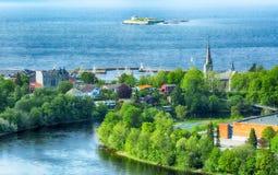 Sommar i Trondheim, Norge fotografering för bildbyråer