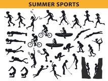 Sommar kontursamling för utomhus- sportar vektor illustrationer