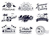 Sommar logos1 stock illustrationer