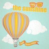 Sommar och ballong för varm luft Arkivfoto