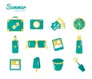 Sommar och loppsymbolsuppsättning 1. Arkivfoton