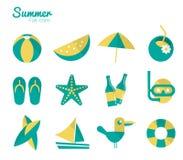Sommar- och semestersymbolsuppsättning 2. Arkivfoton