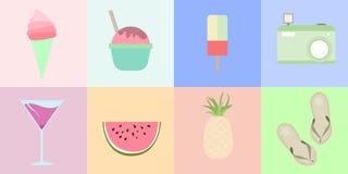 Sommar och tropiskt objekt med pastellfärgad färg arkivfoton