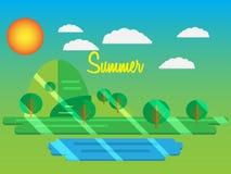 Sommar också vektor för coreldrawillustration Sommar parkerar med grönt gräs och tre Royaltyfria Bilder