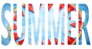Sommar-ord med vattenmelontextur arkivbild
