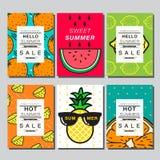 Sommar orienteringsdesign, hälsningkort, räkningsbok, baner Royaltyfri Fotografi
