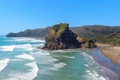 Sommar på den Piha stranden med Lion Rock, Nya Zeeland royaltyfri foto