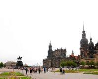 Sommar på den Theaterplatz fyrkanten, Dresden, Tyskland royaltyfri fotografi