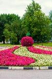 Sommar parkerar att landskap sikten - blomsterrabatt med att landskap detaljen i formen av det stora äpplet som täckas med rosa b Royaltyfri Foto