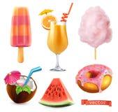 Sommar söt mat Glass, orange fruktsaft, sockervadd, coctail, vattenmelon och munk symbolsuppsättning för vektor 3d vektor illustrationer