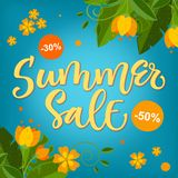 Sommar Sale - ljus färgrik design för kalligrafi med blom- beståndsdelar stock illustrationer