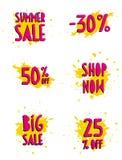 Sommar Sale, shoppar nu, stora Sale och 30, 50 och 25% av rabatt vektor illustrationer
