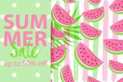 SOMMAR SALE upp till 50 AV baner med sömlös isolerad förestående dragen borstebakgrund för vattenmelon modell royaltyfri illustrationer