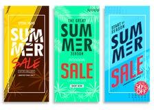 Sommar Sale upp till 50% av färgrik ljus livlig färgbakgrund, nytt stilfullt dekorativt mönstrat vertikalt handtag upp banerSe stock illustrationer