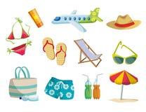 Sommar semester på stranden, lopp Uppsättning av kulöra vektorsymboler på vit royaltyfri illustrationer