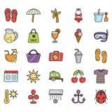 Sommar semestrar symboler packar royaltyfri illustrationer