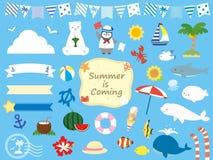 Sommar set8 stock illustrationer