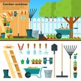 Sommar som arbeta i trädgården landskap i tecknad filmstil Arkivfoto