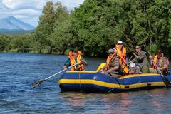Sommar som rafting på den Kamchatka halvön - grupp av handelsresande som svävar på den lugna floden på flotten Royaltyfri Bild
