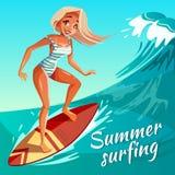 Sommar som surfar flickan på illustration för vågvektor vektor illustrationer