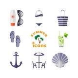 Sommar symboler för pappfärgsymbol ställde in vektorn för etiketter tre Arkivfoton