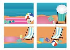 4 sommar temabakgrund Stock Illustrationer