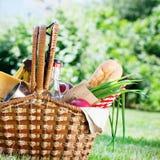 Sommar Tid för drink för mat för inställning för picknickWattled korg Royaltyfria Foton