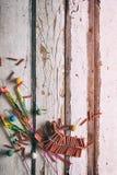 Sommar: Tomtebloss och Firecrackers på träbakgrund Royaltyfri Foto