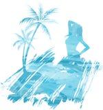 Sommar watercolored bakgrund Arkivfoto
