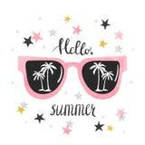 Sommaraffischen med solglasögon och gömma i handflatan stock illustrationer