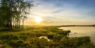 Sommaraftonlandskap på den Ural floden med träd på banken, Ryssland, Juni Royaltyfria Foton