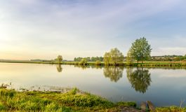 Sommaraftonlandskap på den Ural floden med träd på banken, Ryssland, Juni Arkivfoton