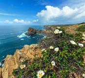 SommarAtlantic Ocean stenig kustlinje Algarve, Portugal Royaltyfri Foto