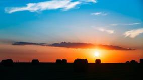 SommarAutumn Field Meadow With Hay baler Royaltyfri Bild