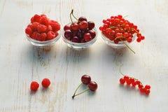 Sommarbär, hallon, körsbär och röda vinbär i exponeringsglasbunkar på tabellen royaltyfri bild