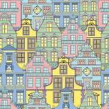 Sommarbakgrund med dekorerade framdelar av hus vektor illustrationer