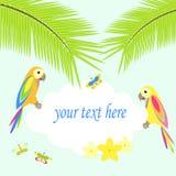 Bakgrund med palmträdet och papegojor Royaltyfri Illustrationer