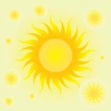 Sommarbakgrund med solen och cirklarna stock illustrationer
