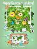 Sommarbakgrund med tropiska växter och blommor Lopp Infographic Förberedelse för turvektorn Royaltyfri Foto