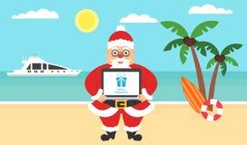 Sommarbakgrund - solig strand Dator med lyckönskan för glad jul och nytt år Hav yacht, palmträd stock illustrationer