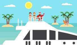 Sommarbakgrund - solig strand Hav, palmträd och asiat santa på yachten Flickor i bikinier glatt nytt år för jul plant modernt vektor illustrationer