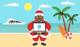 Sommarbakgrund - solig strand Hav, yacht, palmträd och afroamerican santa Dator med lyckönskan för glat stock illustrationer