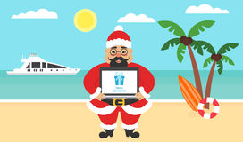 Sommarbakgrund - solig strand Hav, yacht, palmträd och gullig asiat santa Dator med lyckönskan för glat vektor illustrationer