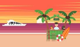 Sommarbakgrund - solnedgångstrand Semester på havet Solen som går ner över horisonten, är solnedgången Hav yacht, stång vektor illustrationer