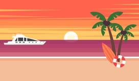 Sommarbakgrund - solnedgångstrand Solen som går ner över horisonten, är solnedgången Hav, yacht och en palmträd vektor royaltyfri illustrationer