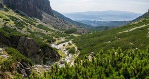 Sommarberg, grönt gräs och landskap för blå himmel Arkivfoto