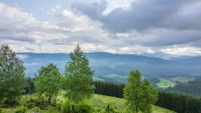 Sommarberg-skog landskap och moln Tid schackningsperiod arkivfilmer